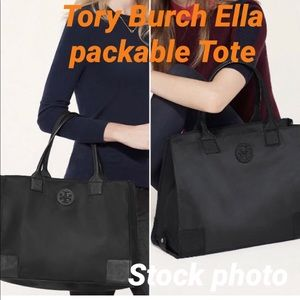 Tory Burch Navy Blue Packable Large Ella Tote
